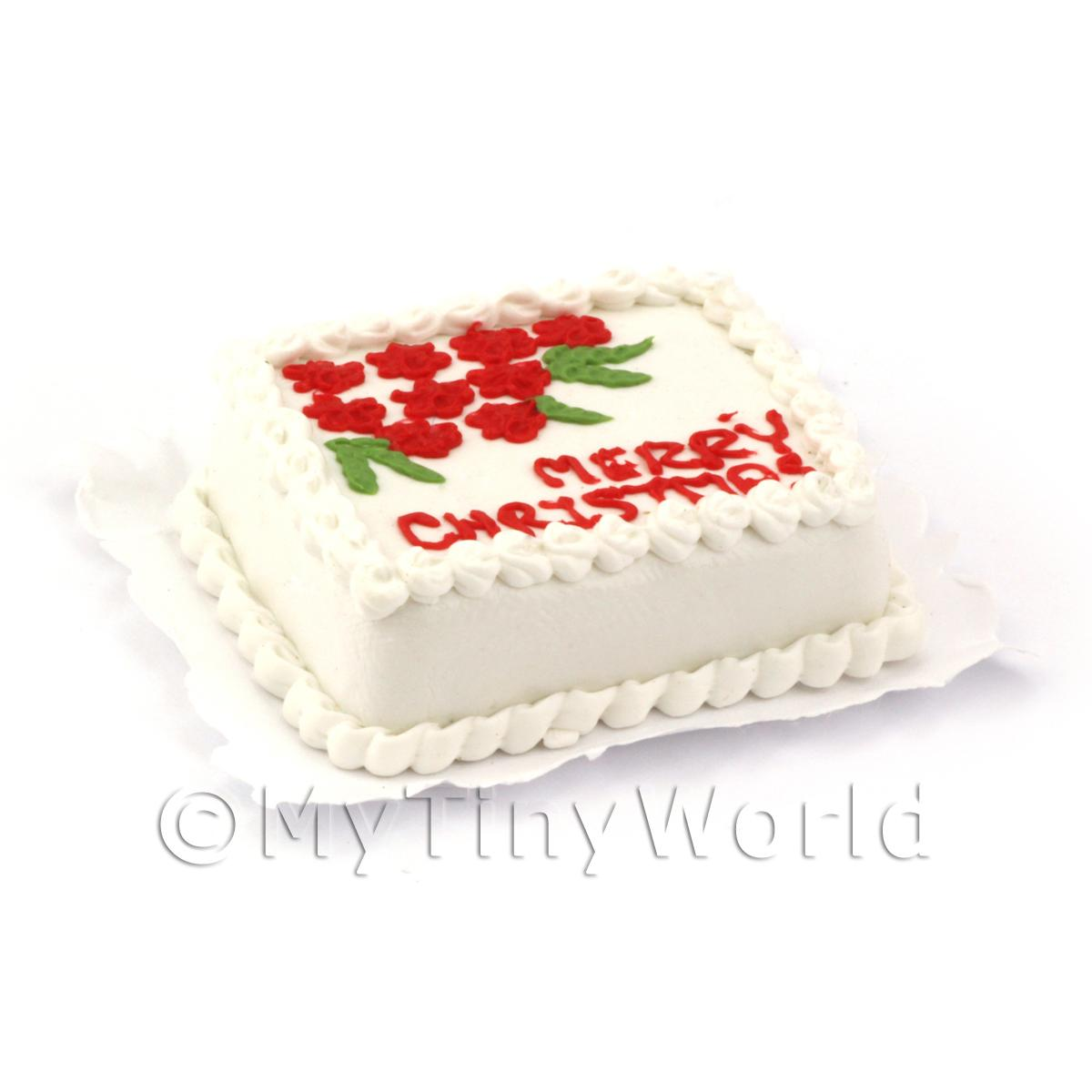 Dolls House Miniature Patterned Christmas Cake