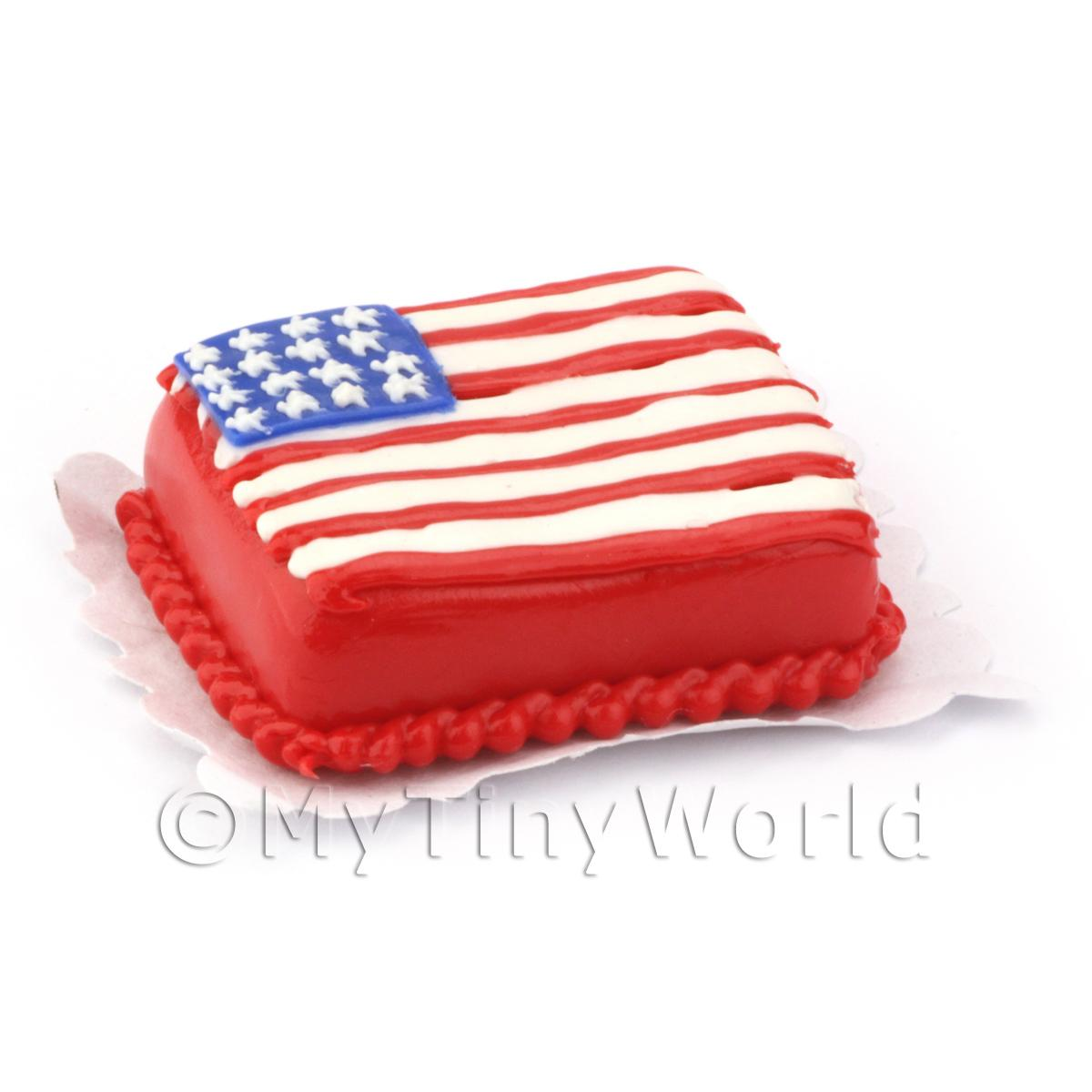 Dolls House Miniature Stars and Stripes Cake