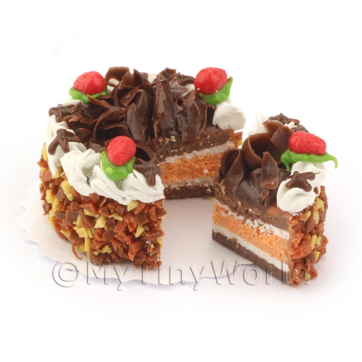 Dolls House Miniature Sliced Chocolate strawberry Cake