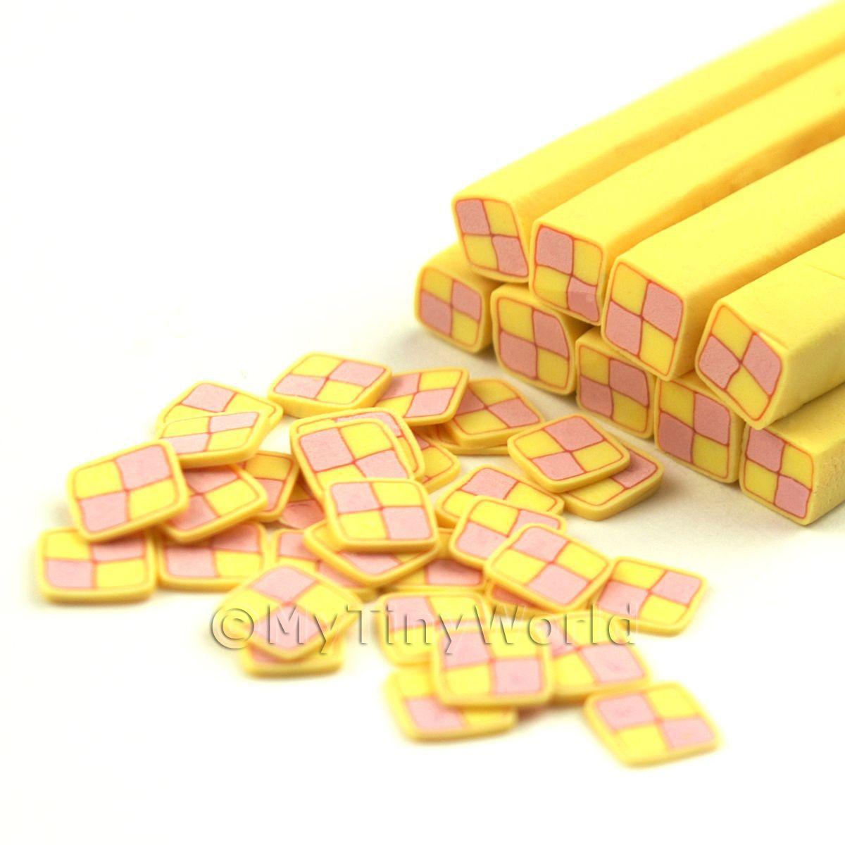 Dolls House Miniature Battenberg Cake Cane