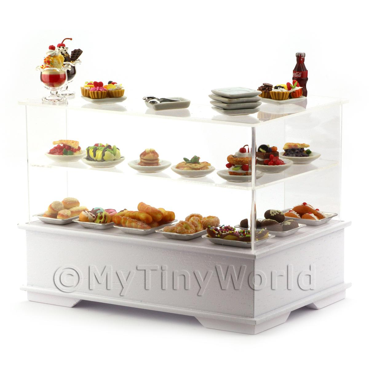 Dolls House Miniature L Shaped Filled Left Hand Dessert Counter