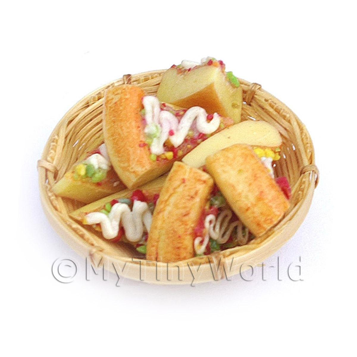 8 Dolls House Miniature Iced Cake Slices In A Small Basket