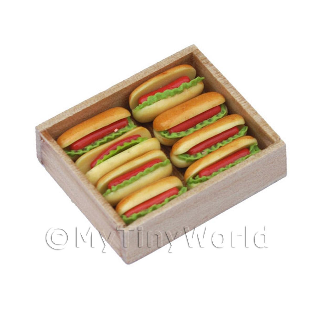 Dolls House Miniature  Jumbo Hot Dogs In a Wooden Bakers Tray