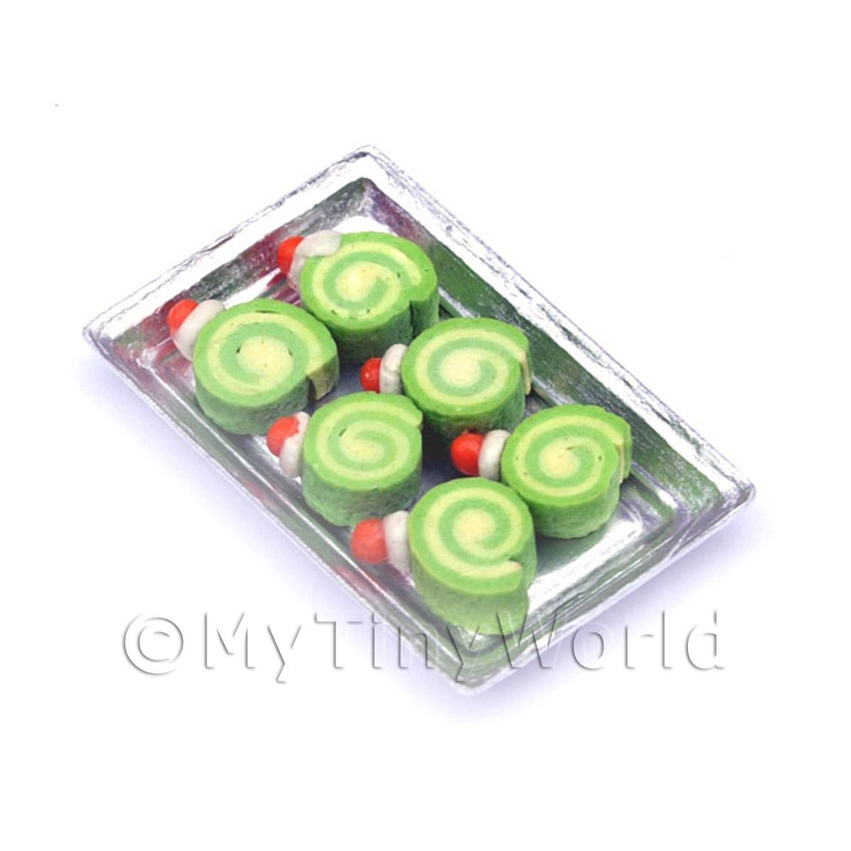 Dolls House Miniature  Mint Roulades On A Tray