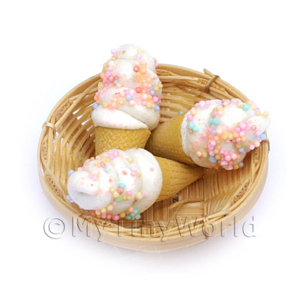3 Dolls House Miniature Marshmallow Cones In A Small Basket