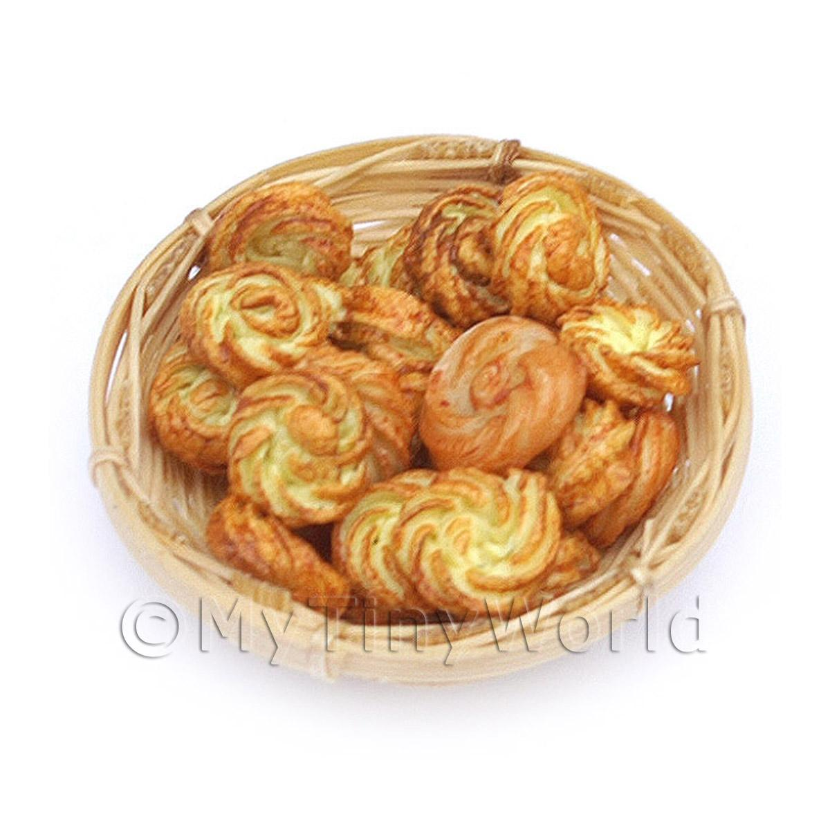 15 Dolls House Miniature Viennese Swirls In A Small Basket