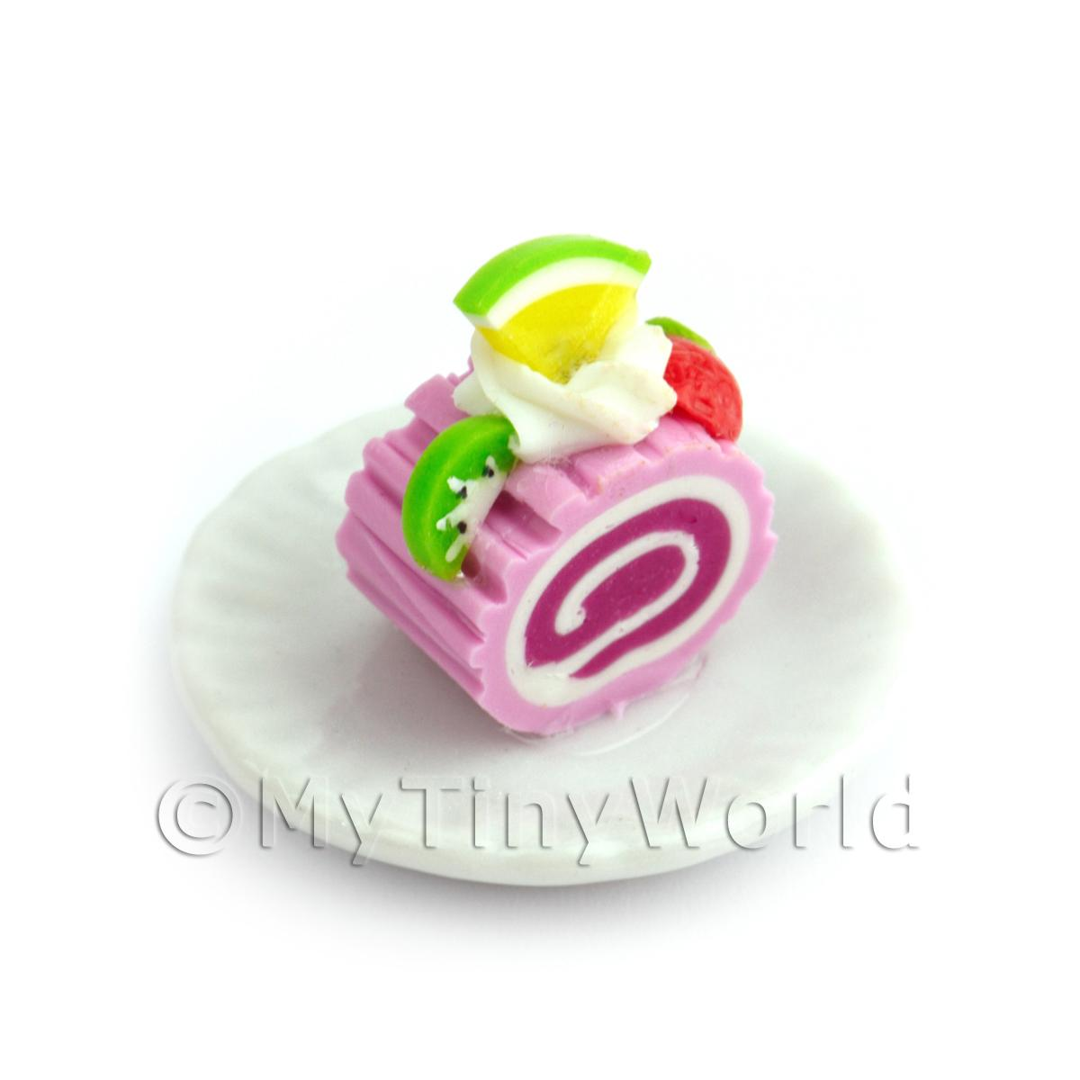 Dolls House Miniature Slice Of Raspberry Roulade On A Plate (PR1)