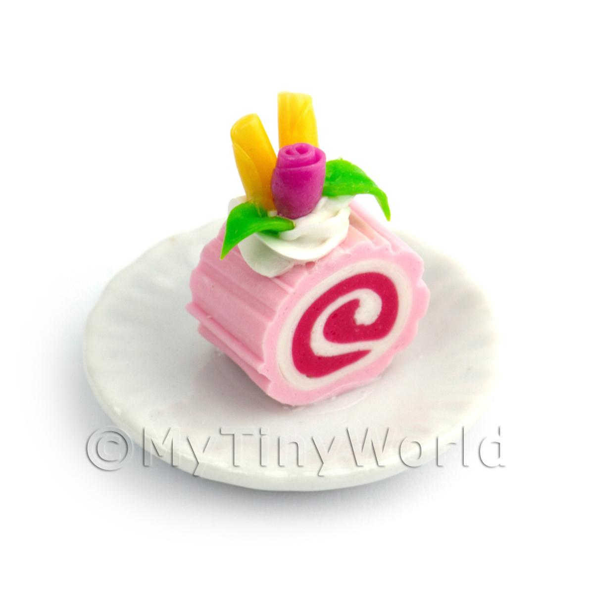Dolls House Miniature Slice Of Raspberry Roulade On A Plate (PR2)