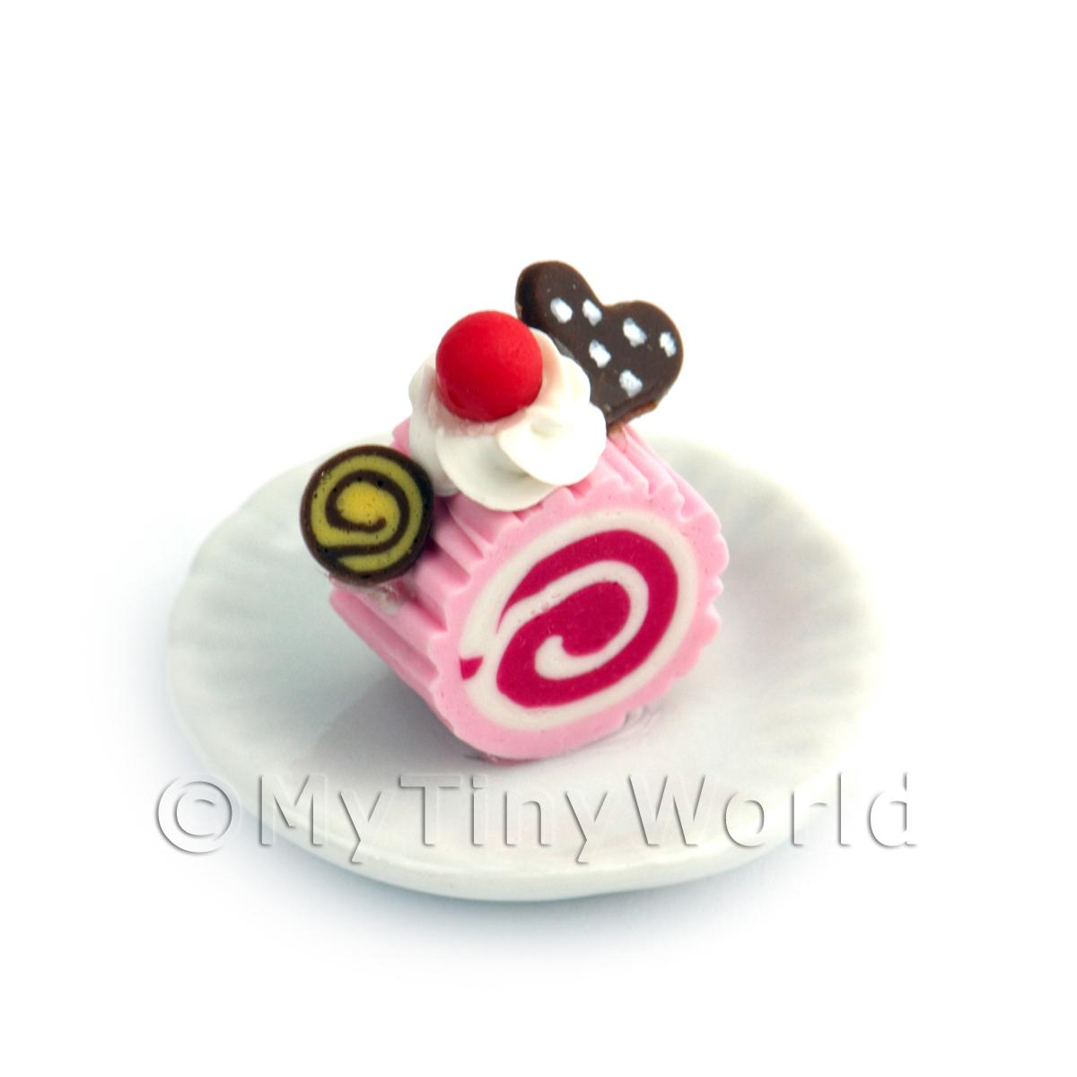 Dolls House Miniature Slice Of Raspberry Roulade On A Plate (PR7)