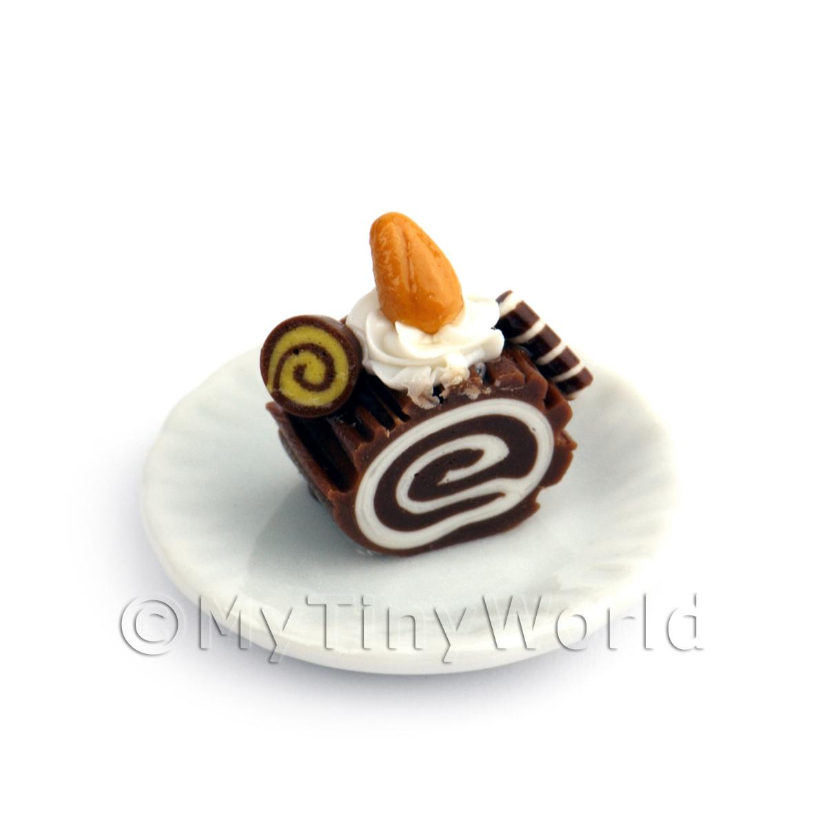 Dolls House Miniature Slice Of Chocolate Roulade On A Plate (PR8)