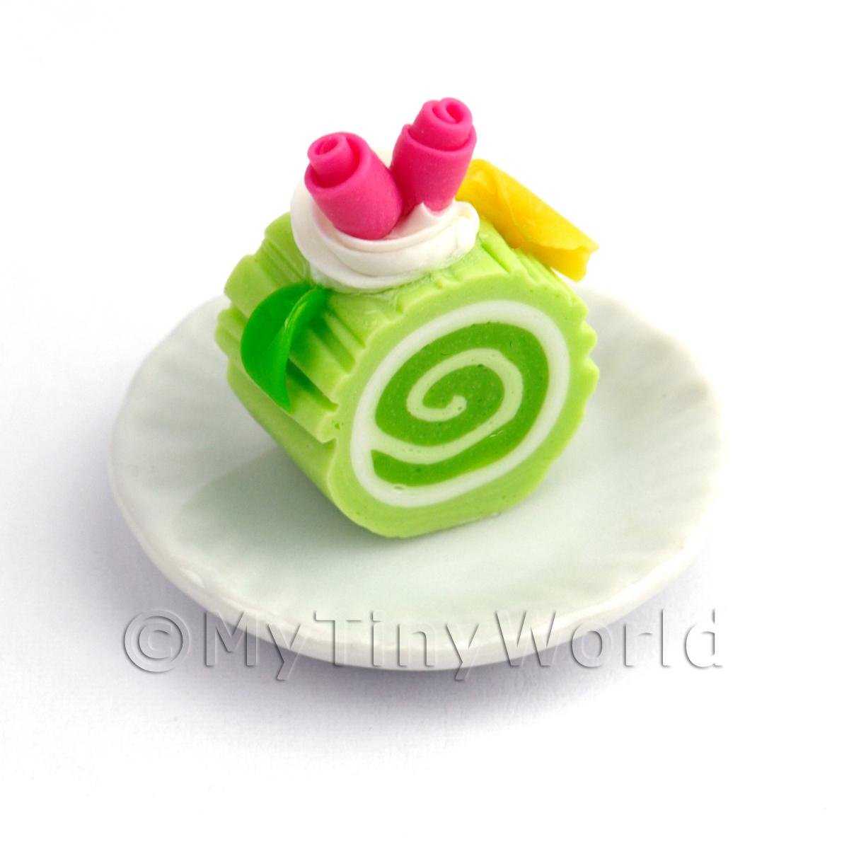 Dolls House Miniature Slice Of Lime Roulade On A Plate (PR10)