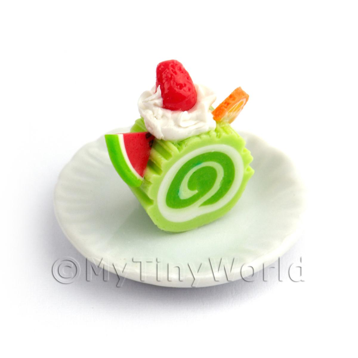 Dolls House Miniature Slice Of Lime Roulade On A Plate (PR11)