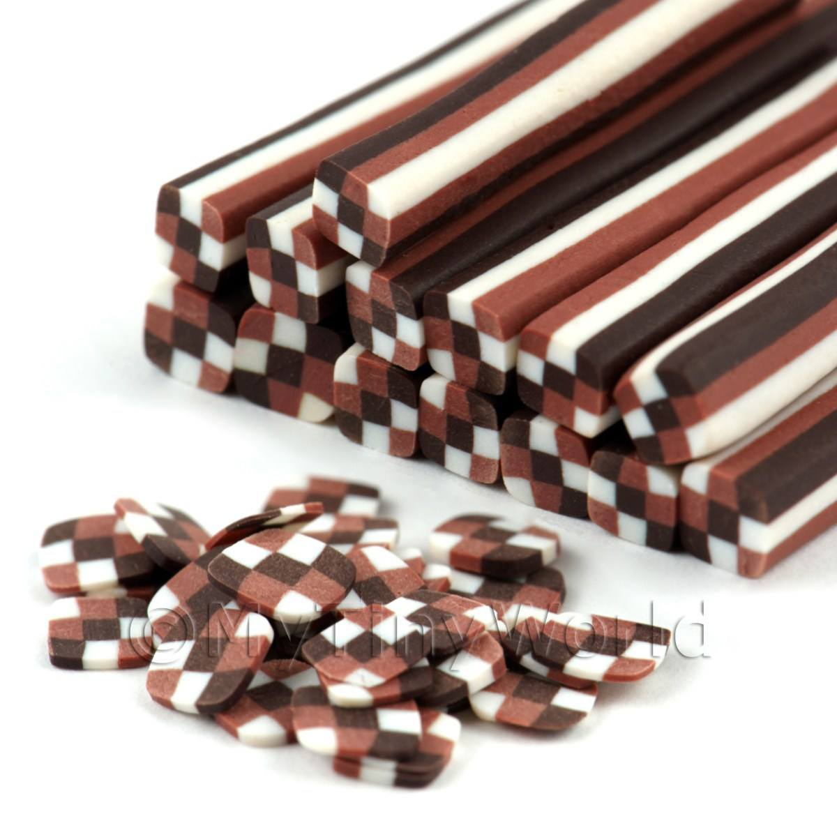Chocolate Checkerboard Nail Art Cane (09NC10)