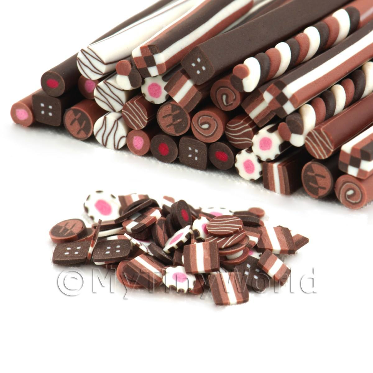 33 Mixed Chocolate Nail Art Canes (09NCM1)