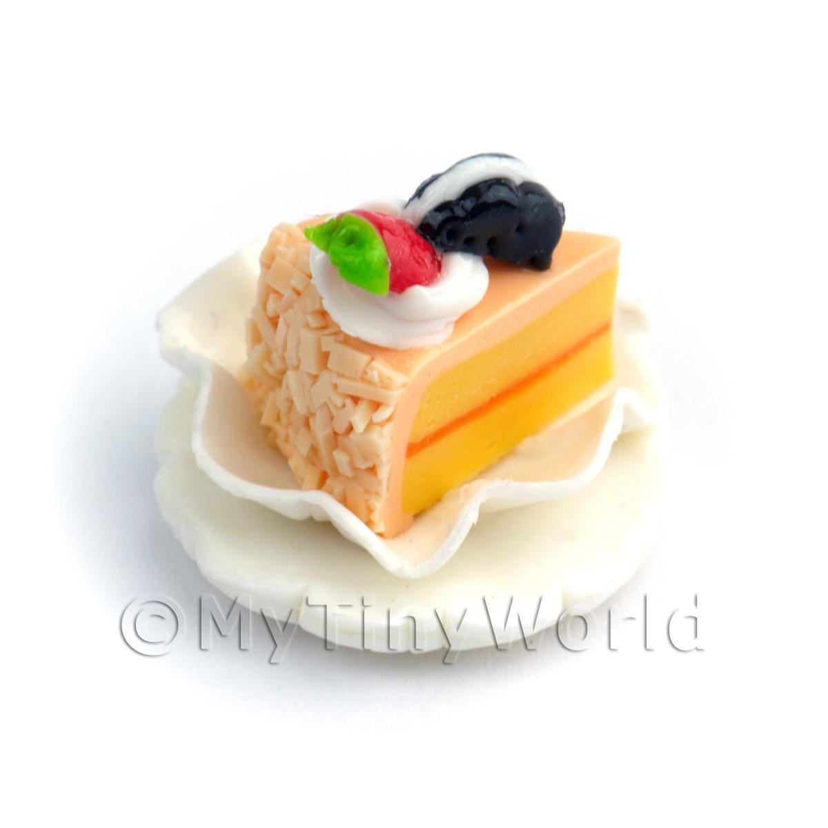 Dolls House Miniature Peach Iced  Individual Cake Slice On A Clay Plate