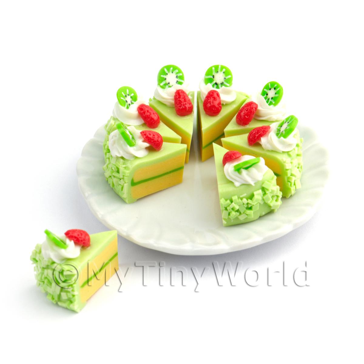 Miniature Whole Sliced Green Iced Kiwi Cake