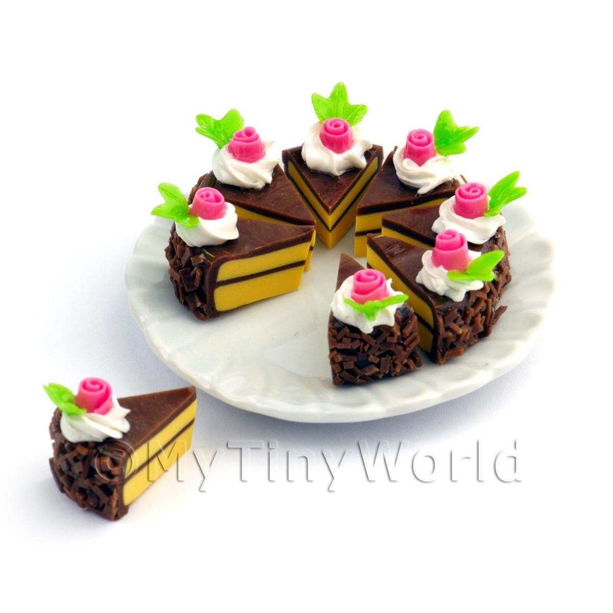 Dolls House Miniature Whole Sliced Chocolate Rose Cake