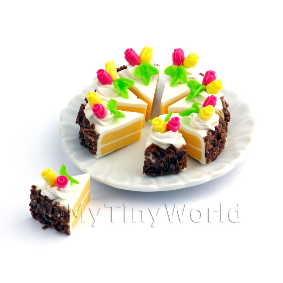Miniature  Whole Sliced Chocolate Sprinkle Rose Cake