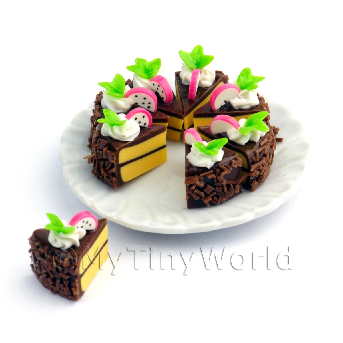 Miniature Whole Sliced Chocolate Dragon Fruit Cake