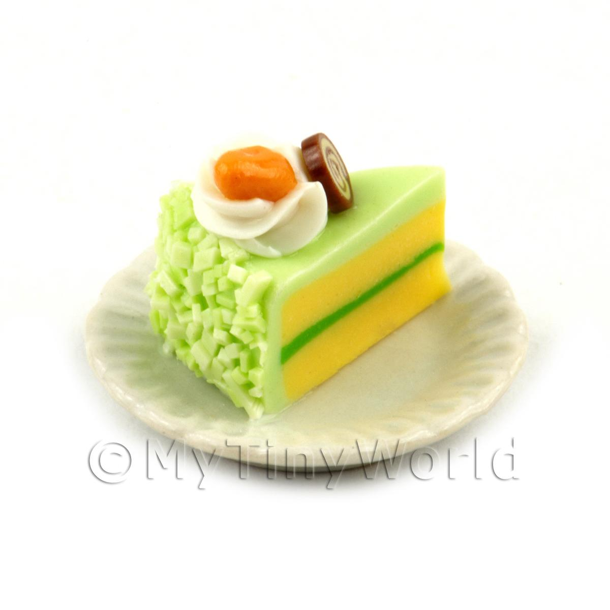 Miniature Green Iced Individual Almond and Chocolate Cake Slice