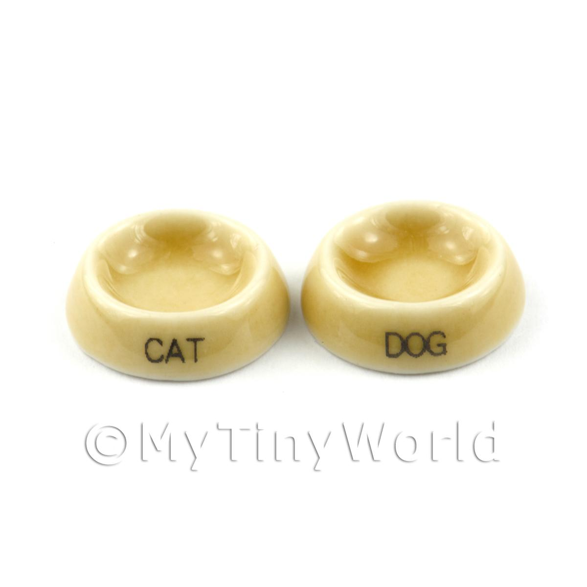 Dolls House Miniature Beige Cat and Dog Bowl Set