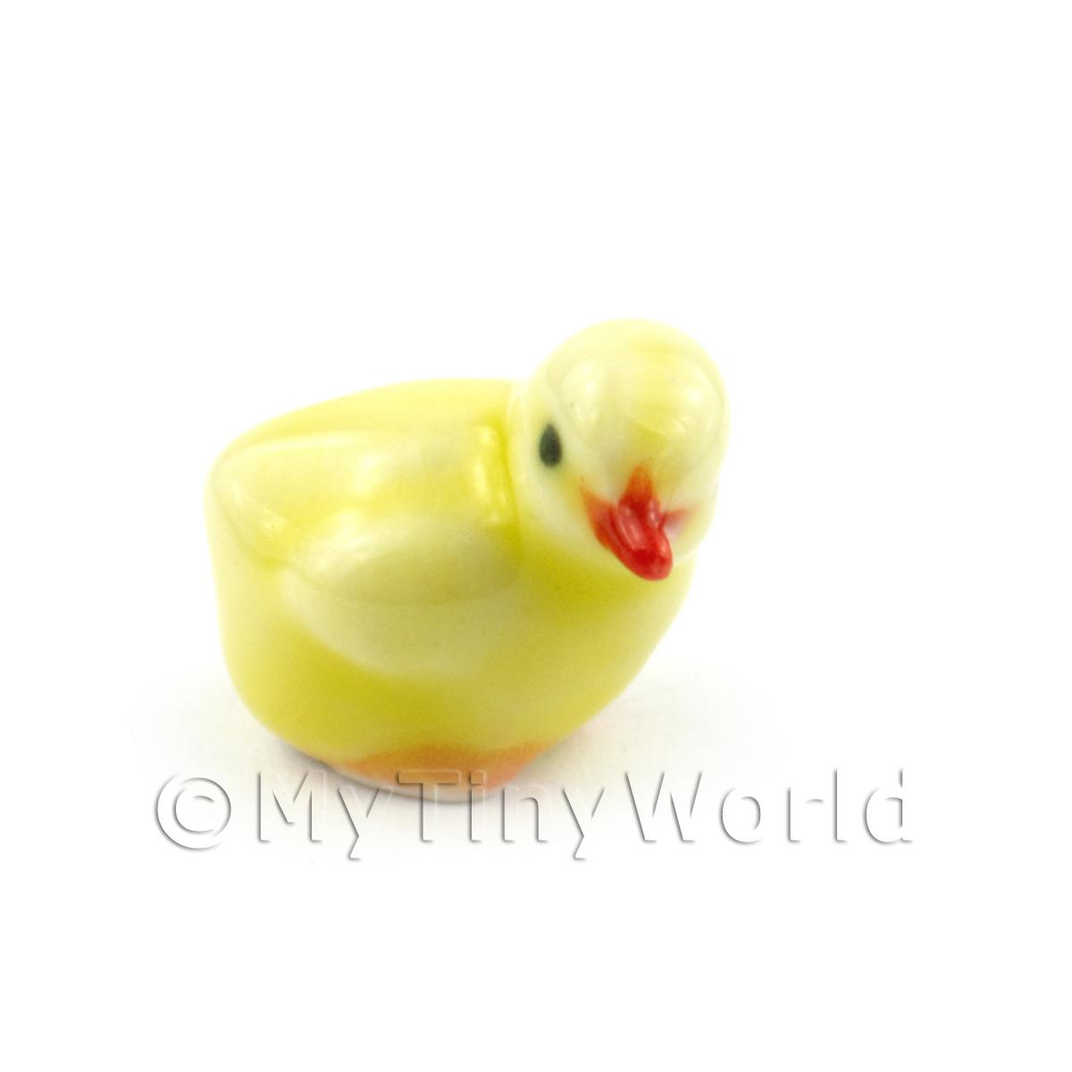 Dolls House Miniature Ceramic Yellow Chick Pose 3 Of 4