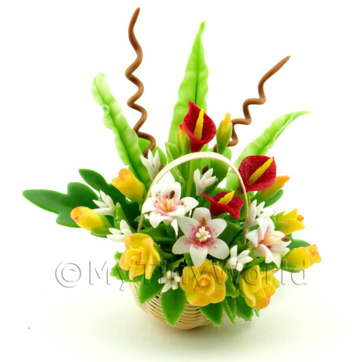 Dolls House Miniature Lillies   Yellow Roses Bouquet