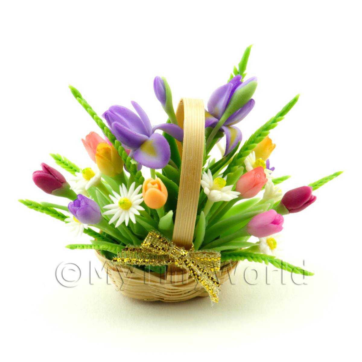 Dolls House Miniature Mixed Irises  Tulips Bouquet