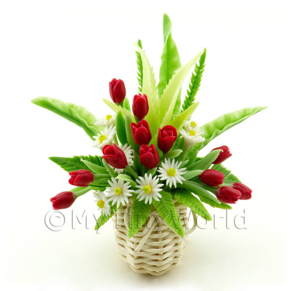 Dolls House Miniature Roses Daises in a Arrangement