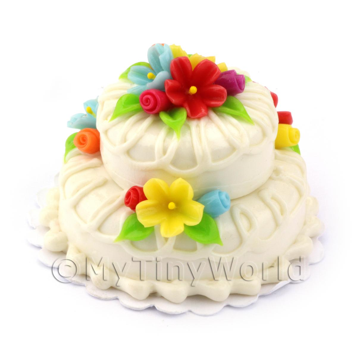 Dolls House Miniature Two Tier White Iced Flower Cake