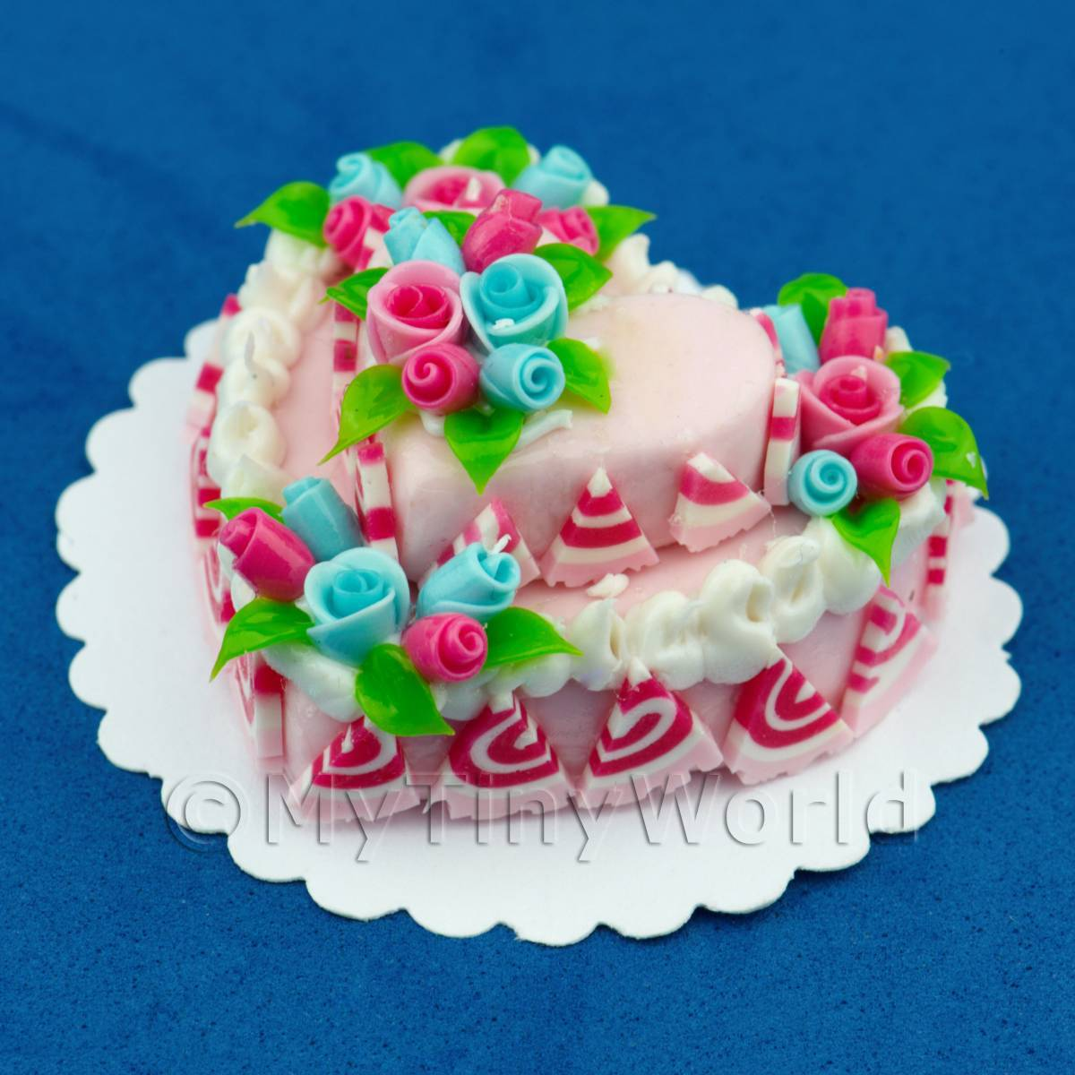 Dolls House Miniature Two Tier Pink Heart Cake