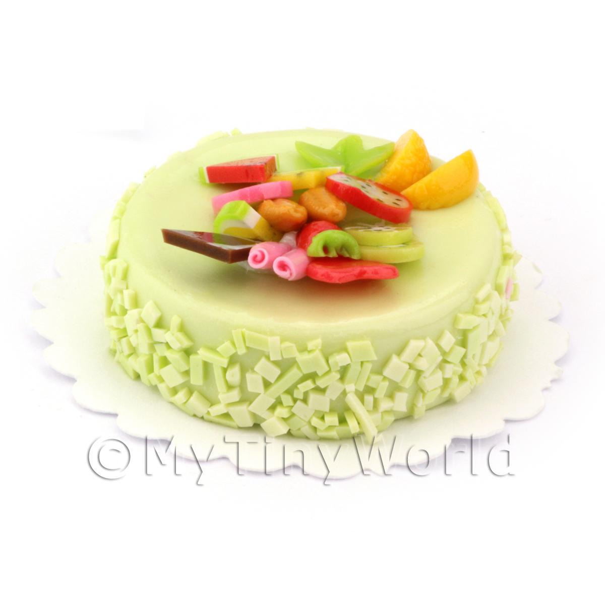 Dolls House Miniature Round Fruit Topped Green Cake