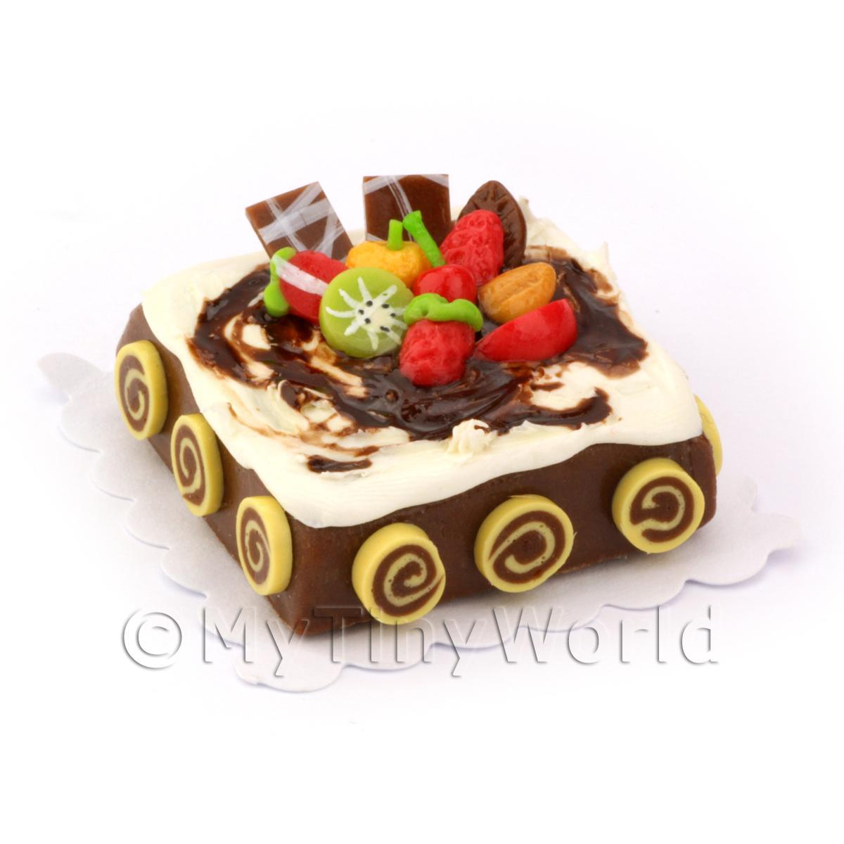 Dolls House Miniature Square Fruit Topped Chocolate Cake