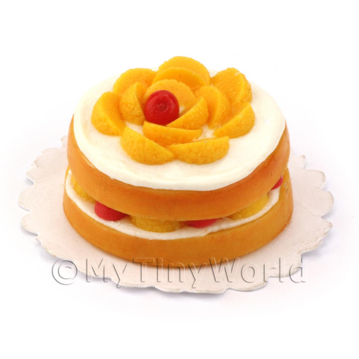 Dolls House Miniature Victoria Sponge Cake  With Mixed Fruit