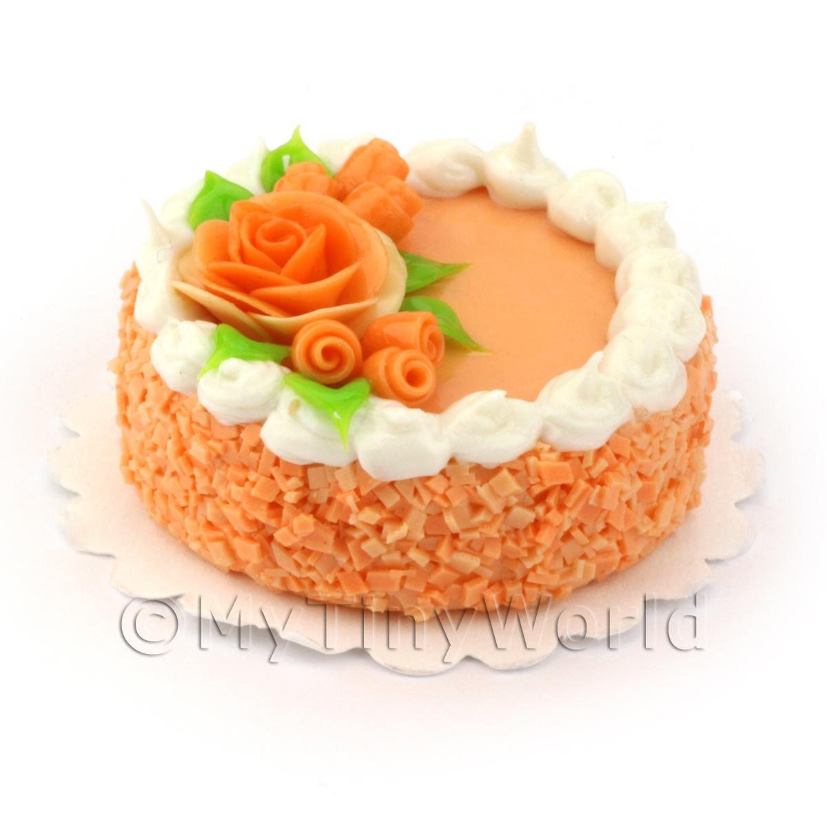 Dolls House Miniature Peach Cake With Orange Roses