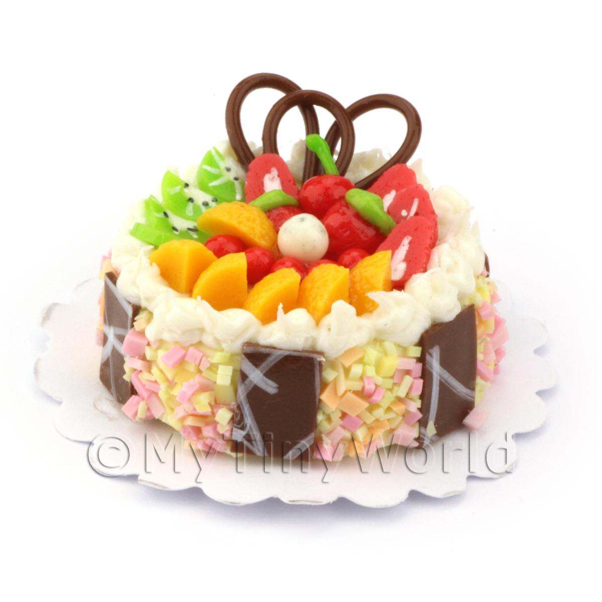 Dolls House Miniature Mixed Fruit Topped Cake