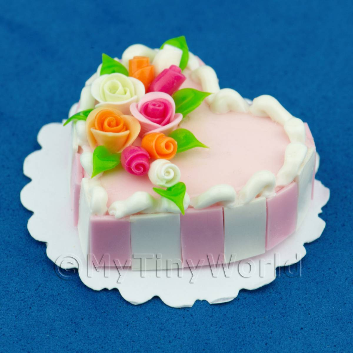 Miniature Pink Cake With Rose Arrangement