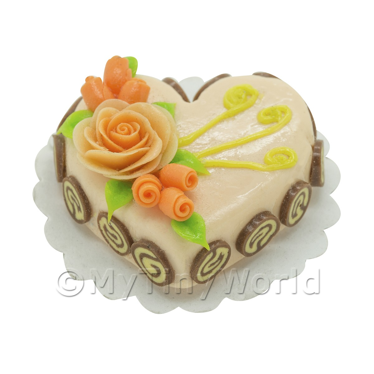 Dolls House Miniature Peach Heat Shaped Cake