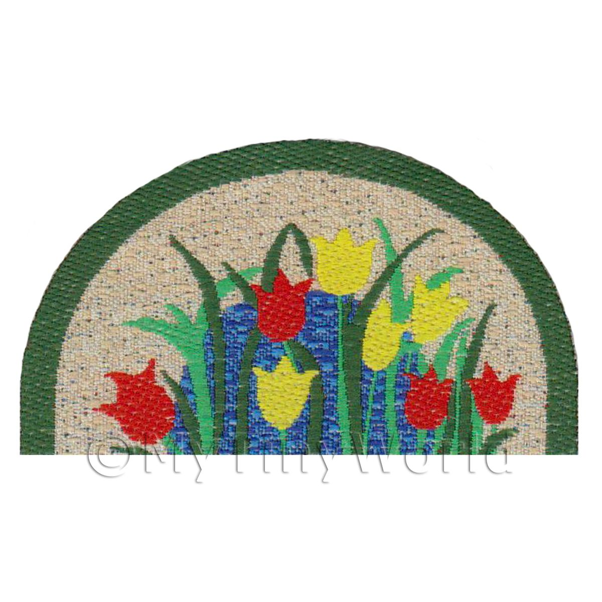Dolls House 62mm Tulip Half Moon Welcome Mat (WM12)