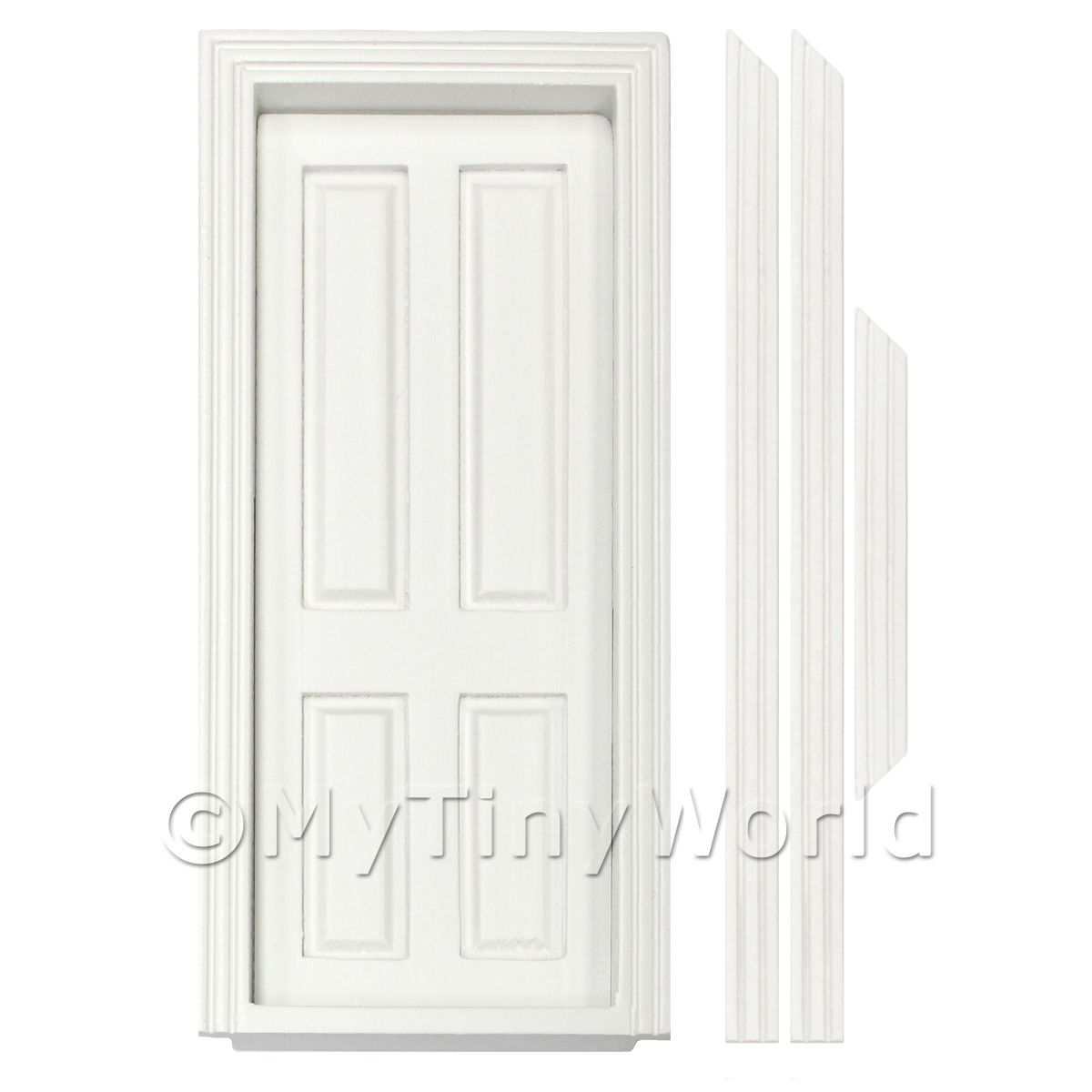 Dolls House Miniature Internal White Painted 4 Panel Door
