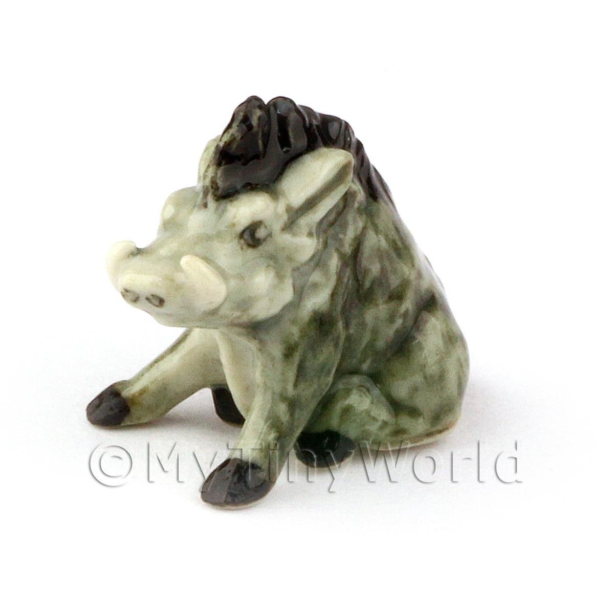 Dolls House Miniature Ceramic Sitting Warthog