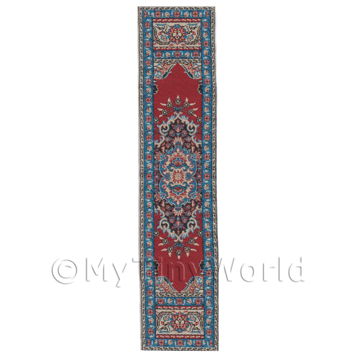 Dolls House Miniature 24cm Turquoise And Red Pattern Hall Runner (HR5)