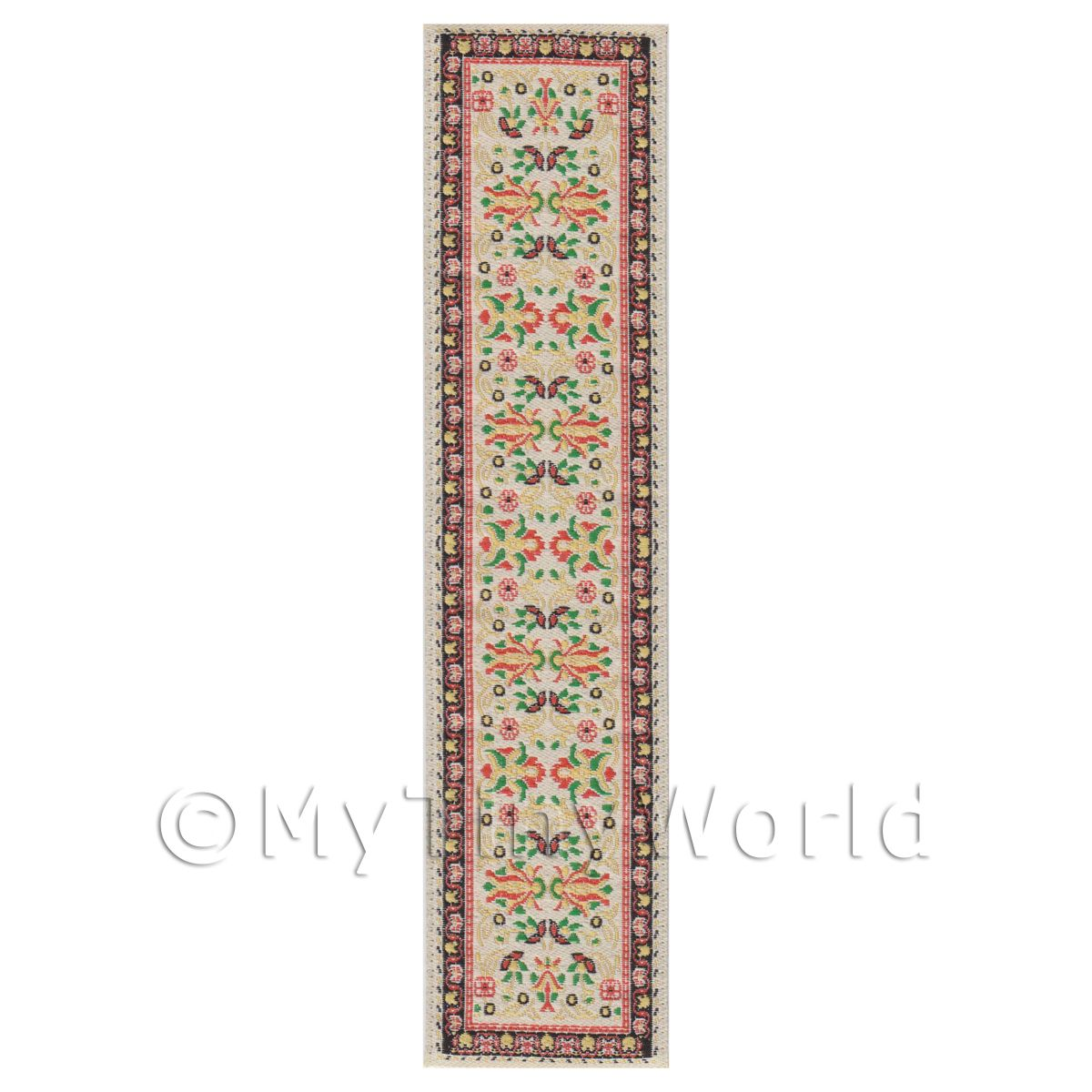 Dolls House Miniature 24cm Cream And Brown Pattern Hall Runner (HR11)