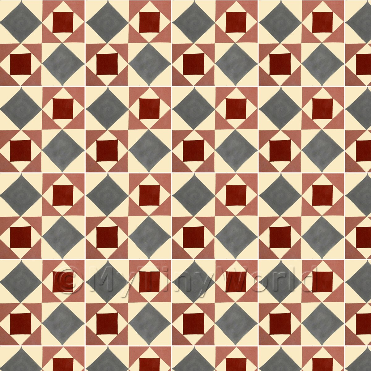 1:12th Large Red And Grey Geometric Design Tile Sheet With White Grout