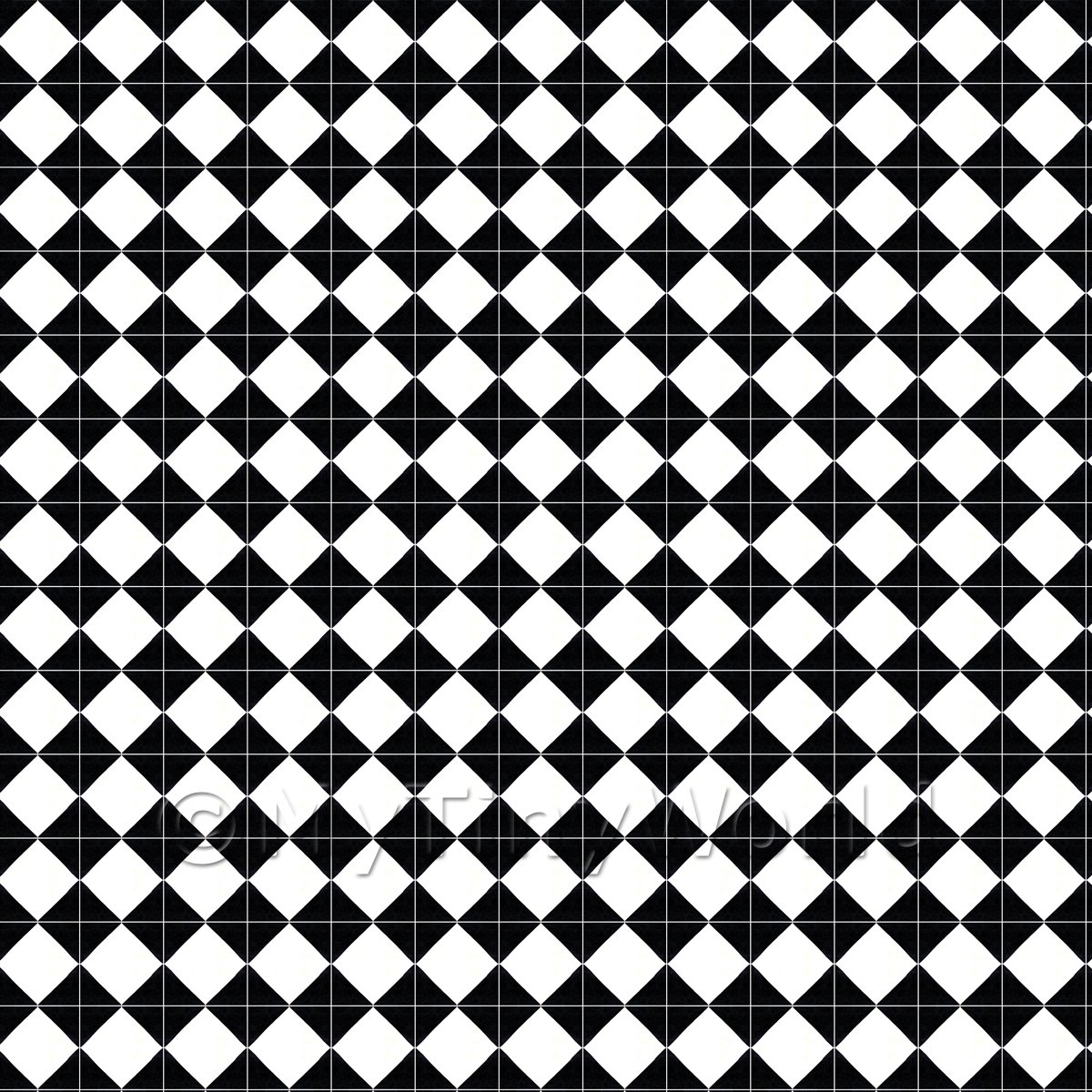 1:12th Classic Small Black And White Diamond Design Tile Sheet