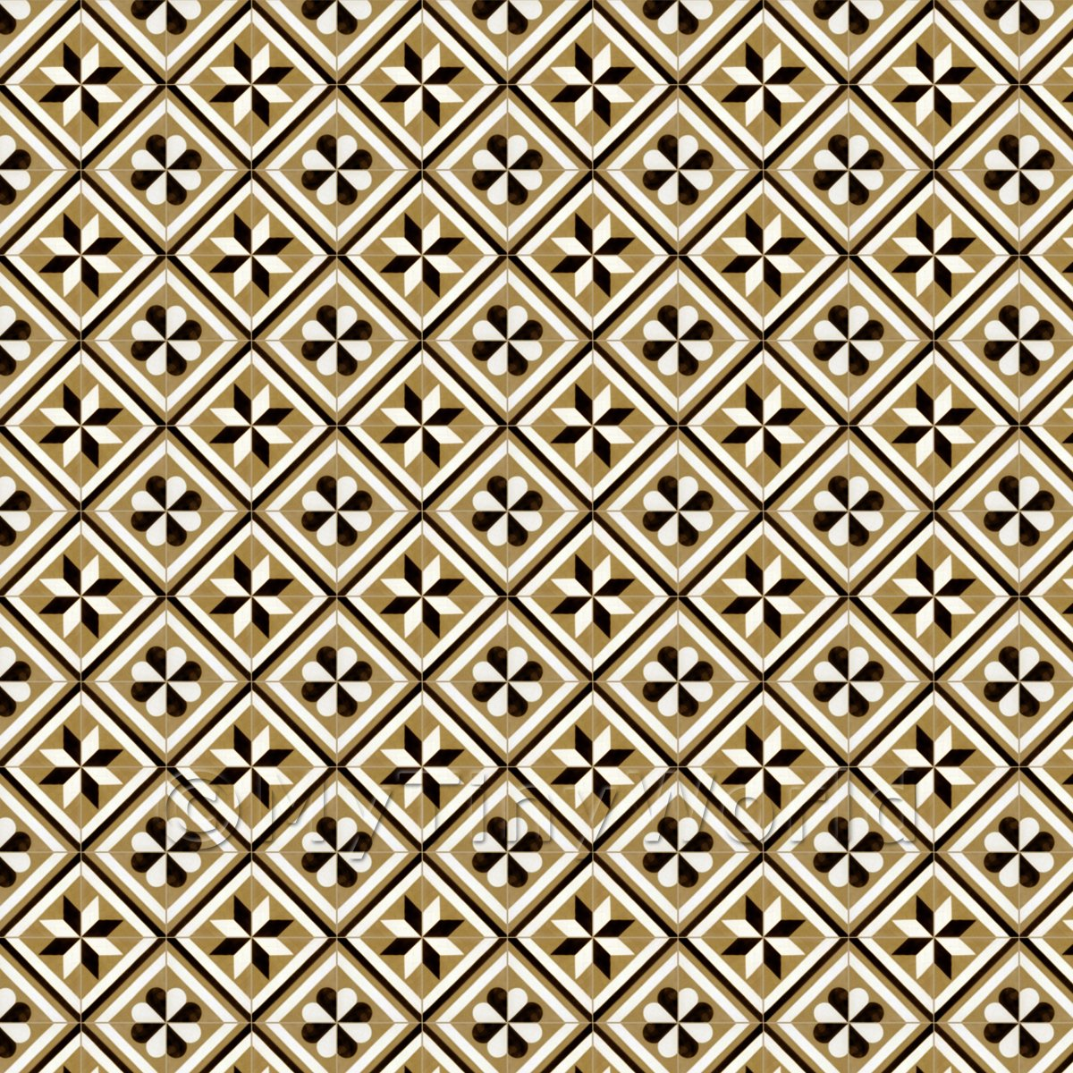 1:12th Pale Chestnut Geometric Design Tile Sheet With Matching Grout