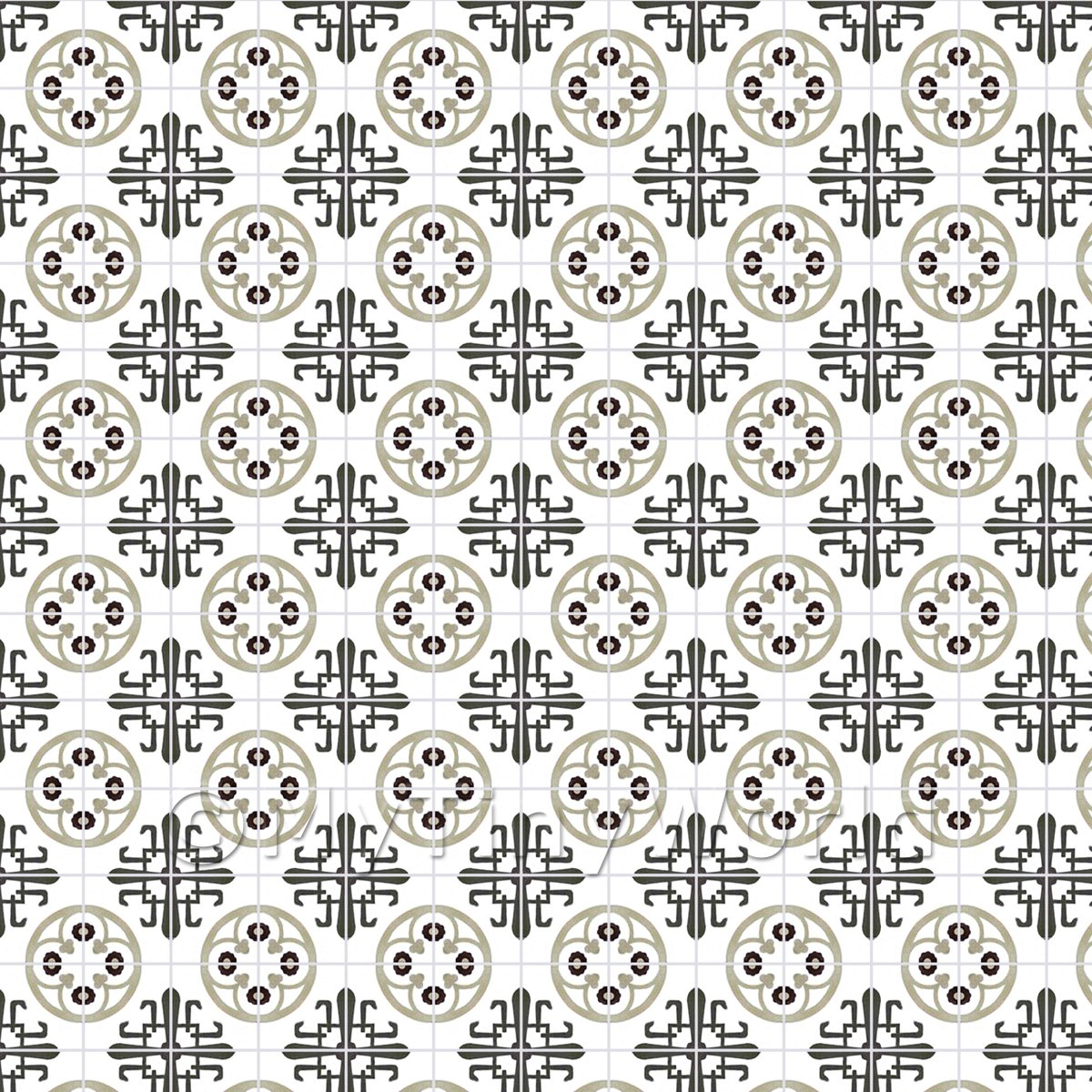 1:12th Grey And Black Styalised Pattern Tile Sheet With Grey Grout