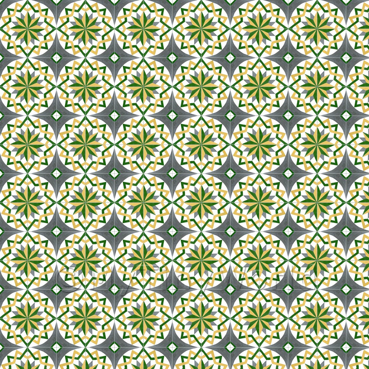 1:12th Yellow, Green And Grey Compass Star Design Tile Sheet