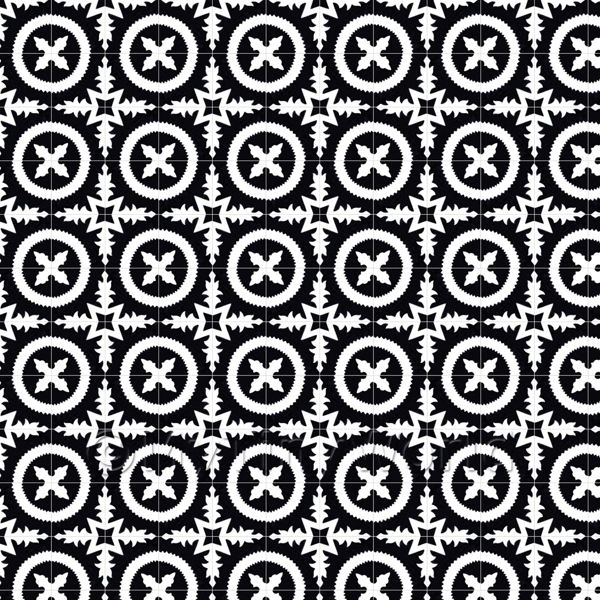 1:12th Black And White Floral Circle Design Tile Sheet With Grey Grout