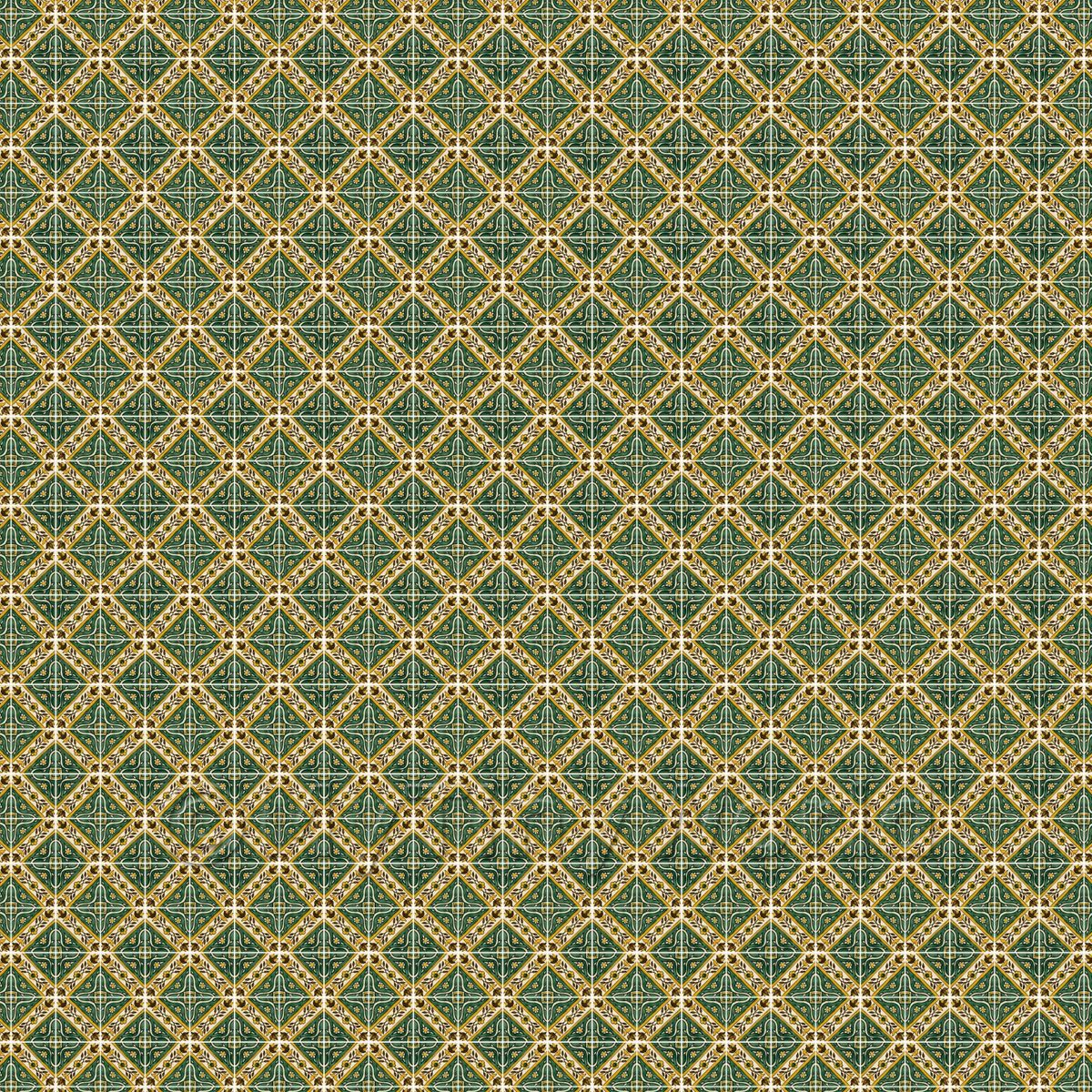 1:48th Green Star With Flower Border Tile Sheet With White Grout